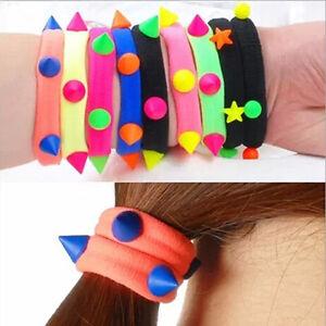 5-10-X-Fluorescent-Rope-Ring-Hairband-Women-Girls-Hair-Band-Ponytail-Holder-TO