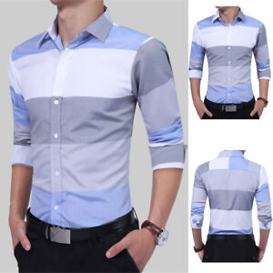 Business-Men-TOP-Casual-Stylish-Formal-Blouse-Short-Sleeve-Slim-Fit-Dress-Shirts