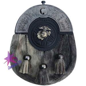 Cc Kilt Écossais Sporrans Peau De Phoque Us Marine Finition Antique / Mens