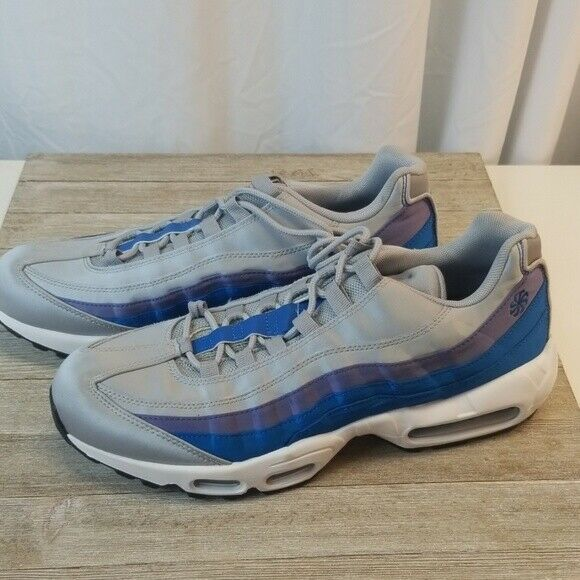 Mens Nike Air Max 95 Se Wolf Grey Blue Nebula Purple Size 10.5  Free Shipping