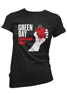 T-SHIRT-DONNA-GREEN-DAY-maglietta-100-cotone-bianca-o-nera-punk-rock
