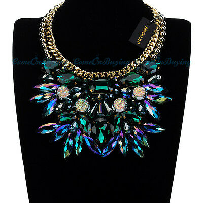 Statement Bib Cluster Chunky Pendant Necklace Shiny Glass Fashion Women Jewelry