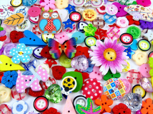 Owls 160 x Beautiful Assorted Wooden and Resin Buttons More Flowers Glitter