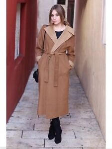 772ce923 Image is loading ZARA-CAMEL-WATERFALL-HANDMADE-WOOL-COAT-JACKET-SIZE-