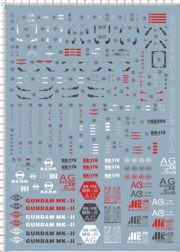 Detail Up 1//60 PG RX-178 MK-II MK2 MK 2 AUGE Gundam Model Kit Water Slide Decal