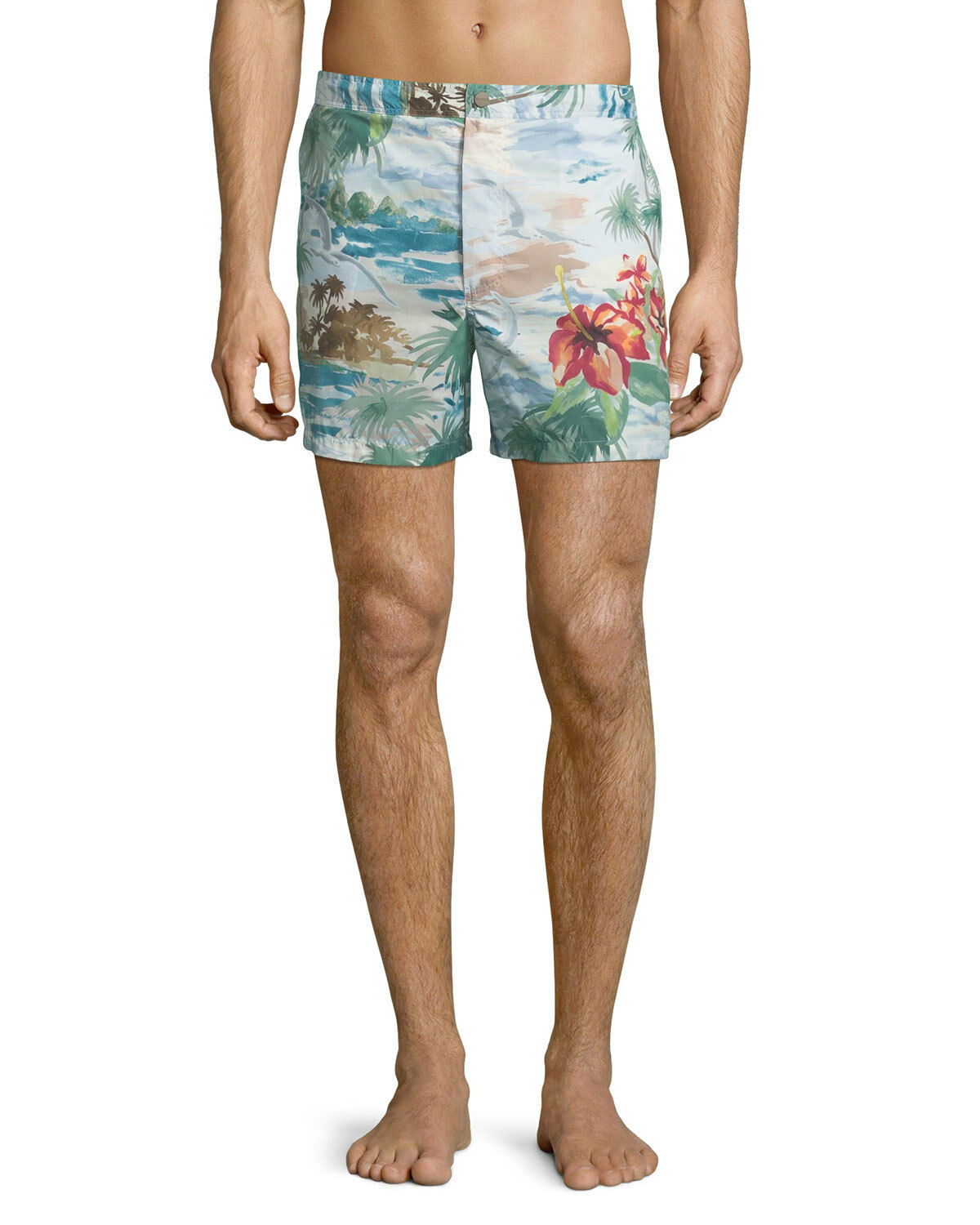 NEW VALENTINO WATERCOLOR TROPICAL-PRINT SWIM TRUNKS M ITALY 46 FITS 30-32