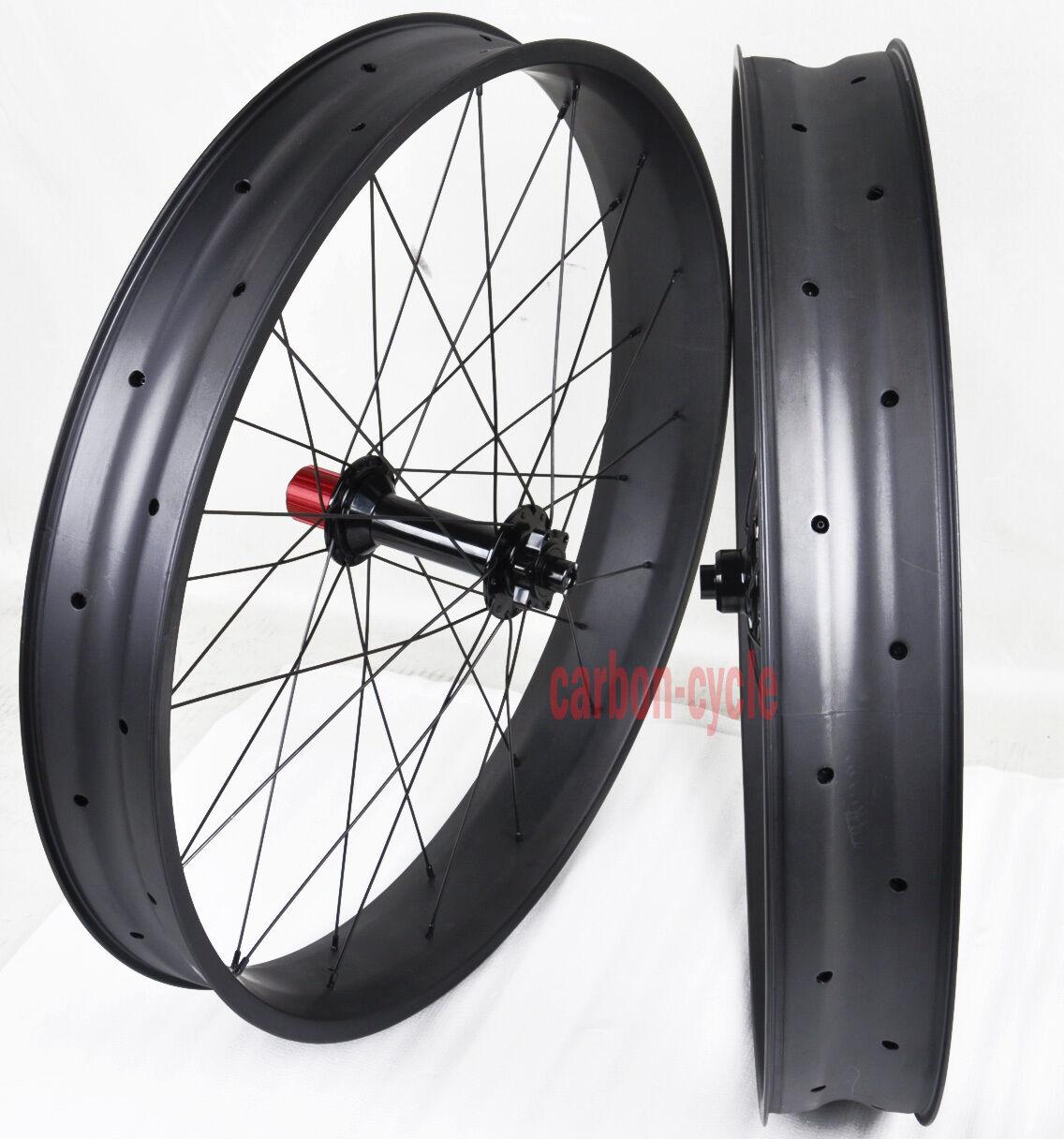 26er Fat Bike Wheels Carbon Thru Axle 135 190mm Clincher 80mm Chosen UD Matt