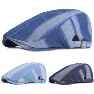 Hommes-Denim-High-Grade-Conduite-Golf-Cap-Soleil-Casquette-Reglable-Newsboy-beret-chapeau