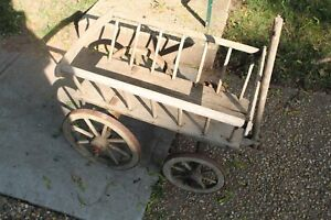 Antique-Wood-Wagon-Carriage-Cart-Hand-Made-Country-Primitive-Newspaper-Grocery