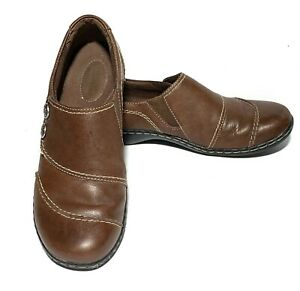 Womens-Clarks-Sz-6-Bendables-Brown-Leather-Casual-Slip-On-Comfort-Shoes