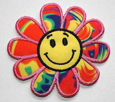 Smiley Blume Aufnäher Aufbügler Bügelbild Kinder Applikation Smilie smile patch