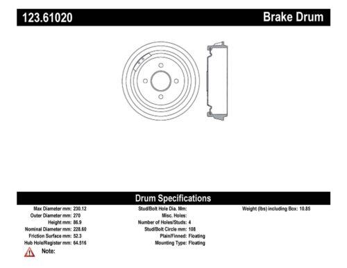 Brake Drum-C-TEK Standard Preferred Rear Centric 123.61020