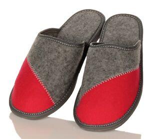 Damen-Filz-HausSchuhe-Pantoffeln-Pantoletten-rot-grau-in-Schuhgroesse-36-41-NEU