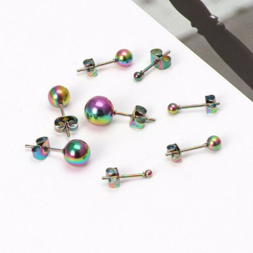 8PCS Unisex Tiny 2mm-8mm Round Solid Ball Bead Stainless Steel Ear Stud Earrings