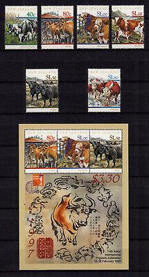 Caritativo 104927/ Neuseeland 1997 – Mi 1571/6 U. Block 64 – Rinder - ** - M€ 19,00