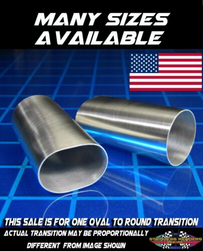"""4"""" 304 Stainless Oval To Round Exhaust Tubing Transition American Made"""