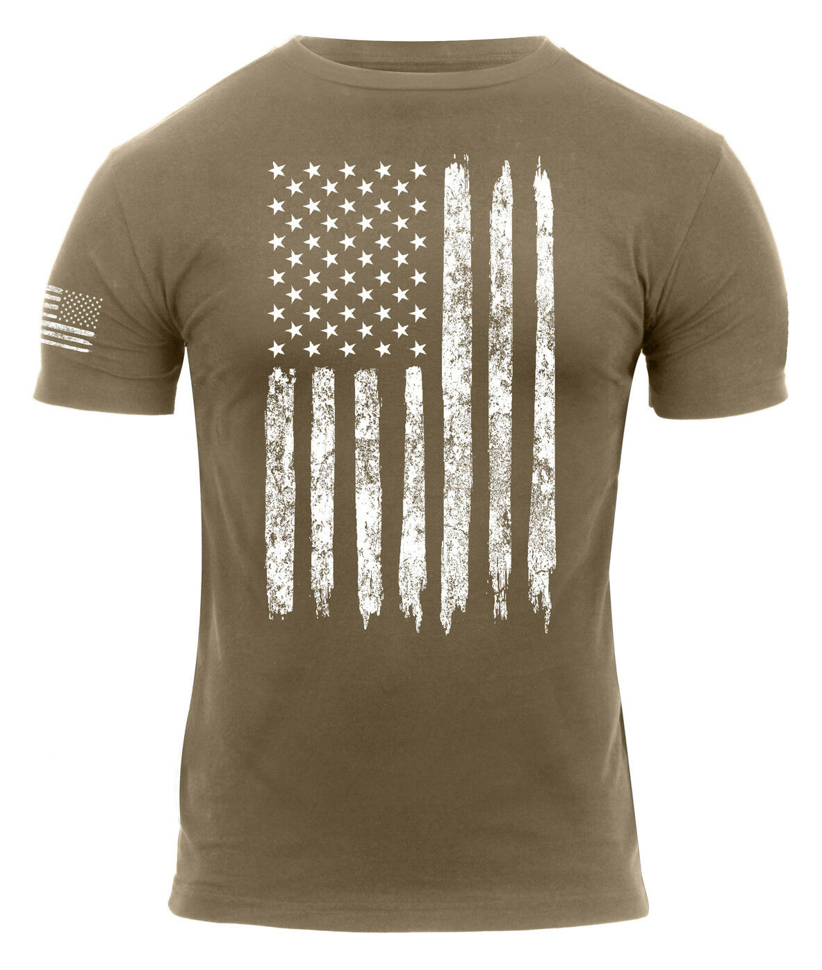 Patriotic Athletic Fit Distressed USA US Flag Mens T-shirt Coyote redhco 2632