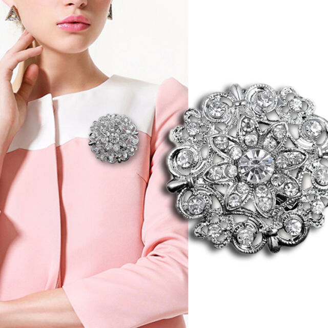 Hot Wedding Bridal Silver Rhinestone Crystal Pearl Brooches Brooch Bouquet Pin