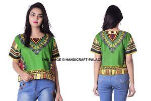 Femme-Africain-Imprime-Dashiki-Robe-Chemise-Boho-Hippie-Gypsy-Fete-Haut-Court