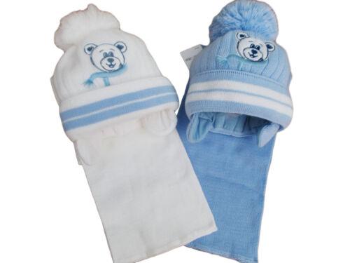 BNWT  boys  warm winter ted pom pom bobble hat /& scarf set 12 Months  to 3 Years
