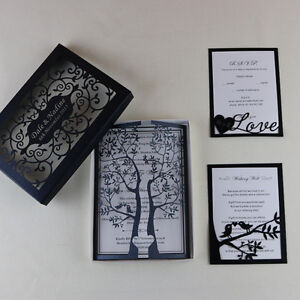 50 Laser Cut Tree Birds Wedding Invitation Cardsrsvp Cardwishing