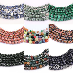 1 Bunch Gemstone Round Loose Spacer Beads Stone Beads Necklace 4/6/8/10/12mm