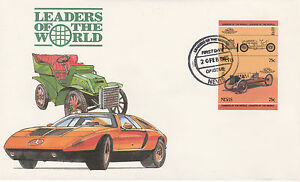 Copieux Nevis 4958 - 1985 Voitures-ford 999 75 C Imperf Paire On First Day Cover-afficher Le Titre D'origine