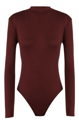 New Ladies Long Sleev Plain High Turtle Neck Womens Summer Bodysuit New Leotard