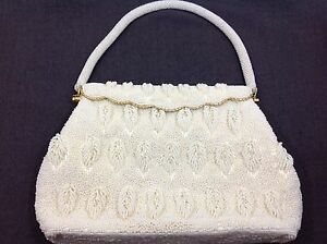 Beautiful Small White Vintage Glass Micro Beaded Hand Bag Purse or Wallet
