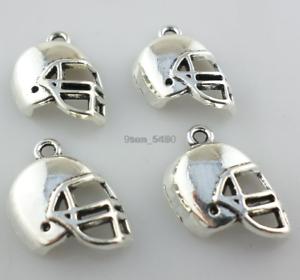 12//36pcs Tibetan Silver Football Helmet Charms Pendants Jewelry Making Findings