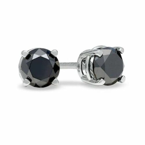Oro Blanco Pesado 1.00 ct ronda De Black Diamond Stud Pendientes