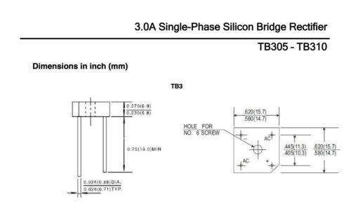 TB305 Taitron 3.0A 50V Single Phase Bridge Rectifier KBPC1005 See Specs 5 pcs.