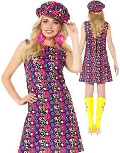 Donna Hippie Psichedelico Donna Costume Medium UK 10-12 per 60 S 70 S Hippy Costume