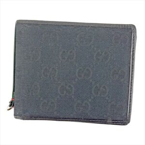 d2261e70582312 Gucci Wallet Purse Bifold GG Black Green Mens Authentic Used T5166 ...