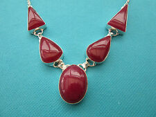 "925 Sterling Silver Pendant With Natural Cherry Ruby 19 1/2"" Length   (nk1215)"