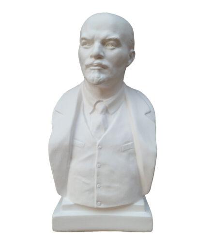 DDR Retro weiß Büste Lenin im Stil Sowjetunion Figur aus Alabastergips 19 cm