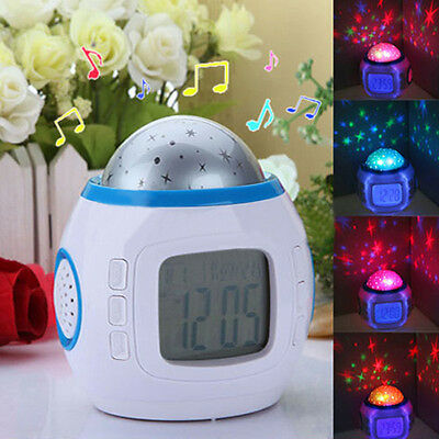 LED Starry Sky Projection Calendar Thermometer Music Lcd Digital Alarm Clock