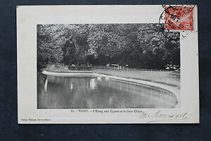 Tarjeta-Postal-Antigua-Postal-Vichy-ESTANQUE-A-Cisnes-Y-Mar-Gruesa-Roble