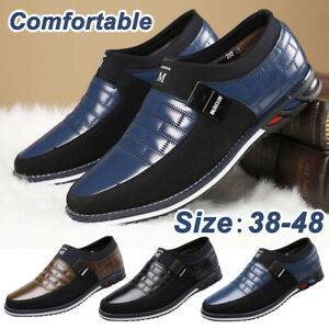 Men-039-s-Oxfords-Leather-Casual-Shoes-Pointed-Toe-Business-Dress-Formal-Office-Work