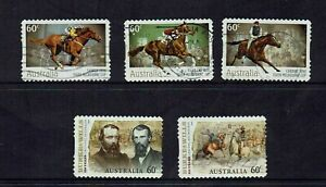 AUSTRALIA-DECIMAL-2010-BURKE-amp-WILLS-EXPEDITION-MELBOURNE-CUP-WINNERS-5-STAMPS