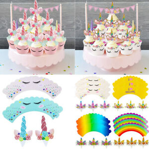 Image Is Loading 24pcs Unicorn Toppers Cupcake Wrappers Muffin Cases Wedding