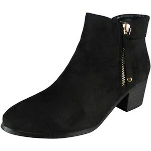 0be4f5c2b721 Details about New Womens Ladies Faux Suede Zip Low Mid Cuban Heel Work Ankle  Boots Shoes Size