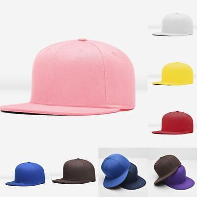 New Men Blank Plain Snapback Hats Unisex Hip-Hop Adjustable Bboy Baseball Caps *