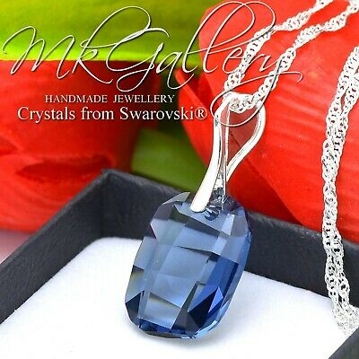 925 Silver Necklace made with Swarovski Crystals *AQUAMARINE* Pear//Almond 38mm