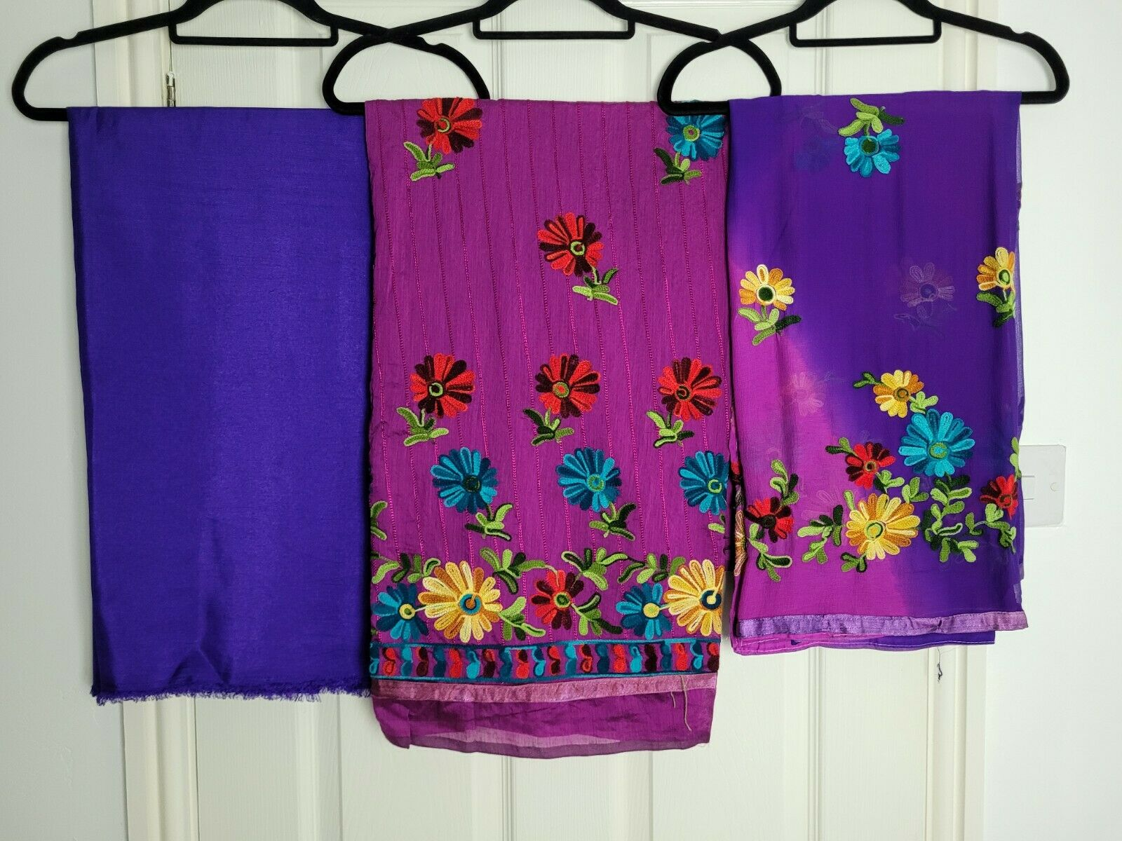 Beautiful Bright Material for Salwar Kameez Fabric Unstitched Embroidered