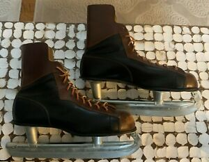 Vintage HOCKEY Ice SKATES  NHL Brown Black 1940s 1950s Antique Authentic Size 10