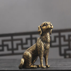 Chinese-old-Antique-Collectible-Brass-Zodiac-Dog-fengshui-Exquisite-statue
