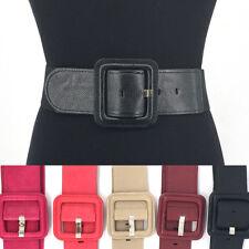 Women Western Fashion WAIST HIP WIDE ELASTIC BELT Stretch Faux Leather S M L XL