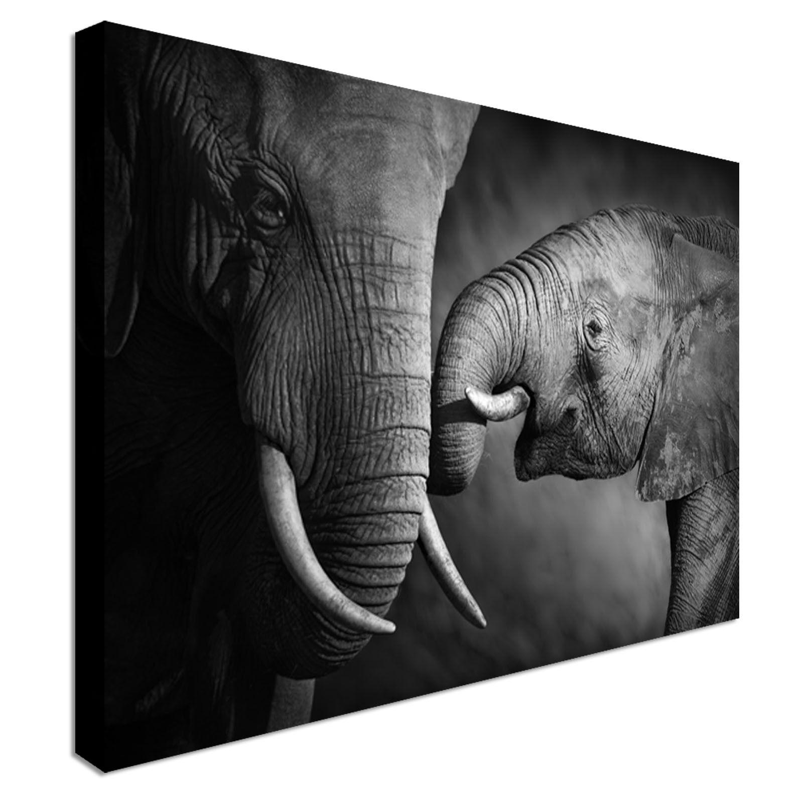 Bebé Bebé Bebé Elefante y madre LONA parojo arte impresiones de alta calidad de gran valor da858b
