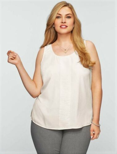 NEW $59 TALBOTS Ivory Crepe de Chine Pintucked Tank Top,Shell Sz 12